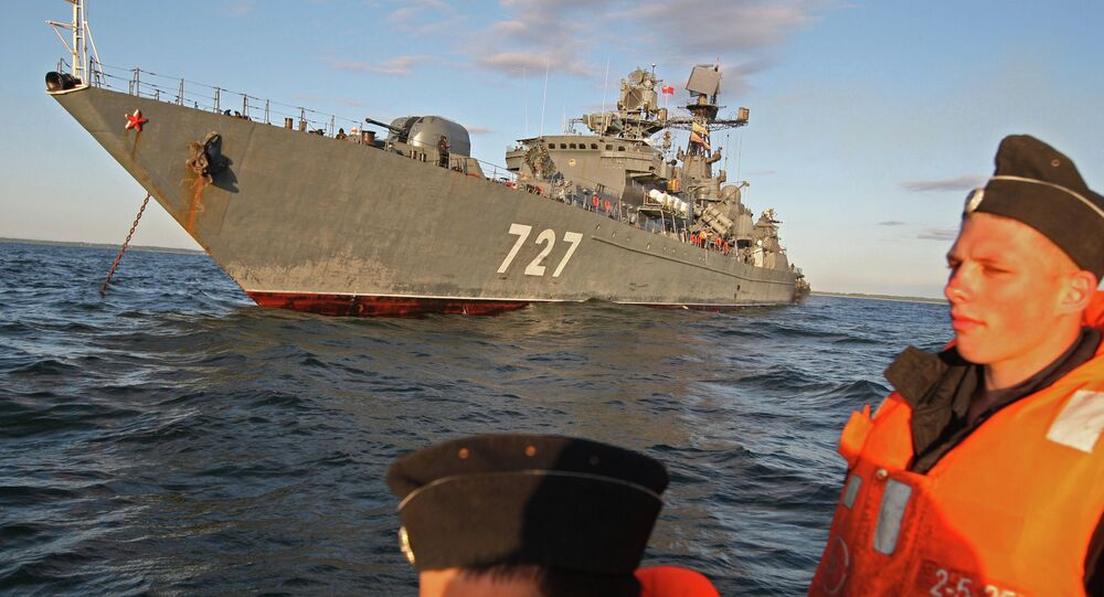 The Baltic Fleet's guard ship Yaroslav Mudry during a military exercise