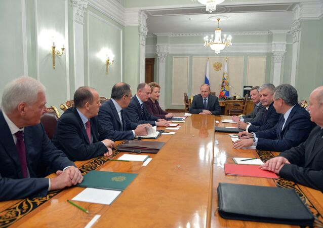 President Vladimir Putin chairs the Russian Security Council meeting