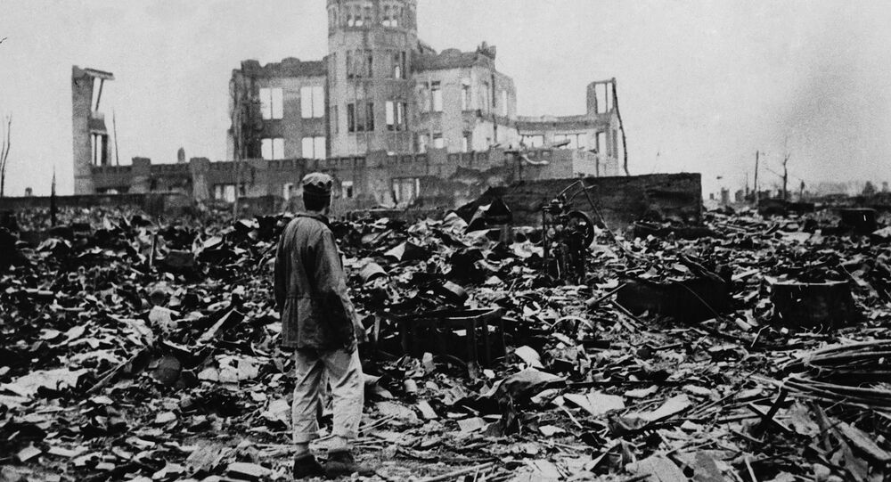 Aman looks over the expanse of ruins left the explosion of the atomic bomb on August 6, 1945 in Hiroshima, Japan