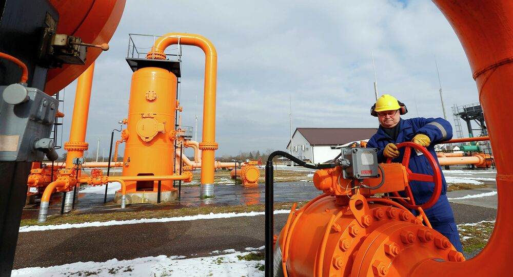 An engineer checks the gas distribution system in Beregdaroc, one of several points where Russian gas crosses into the European Union February 10, 2015