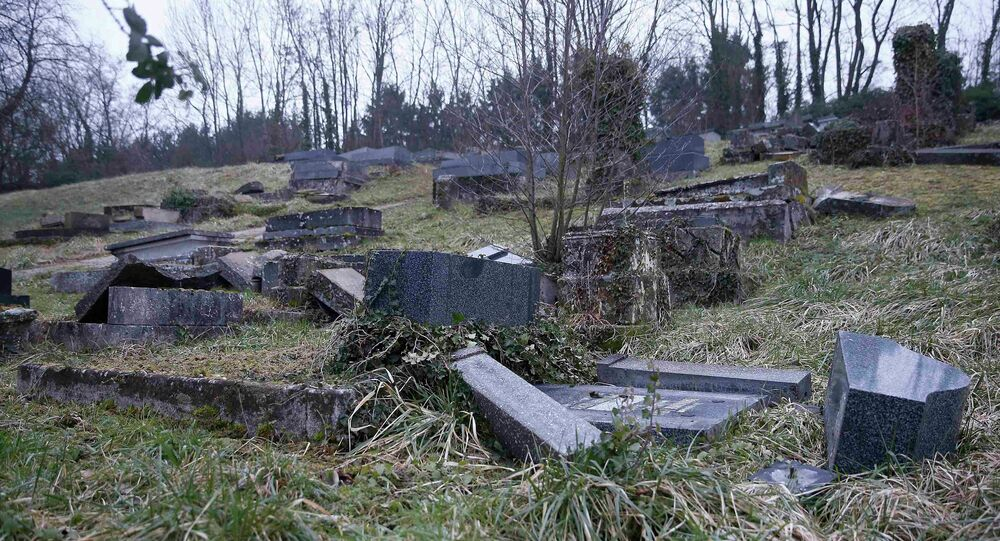 Desecrated tombstones are seen at the Sarre-Union Jewish cemetery, eastern France, February 16, 2015