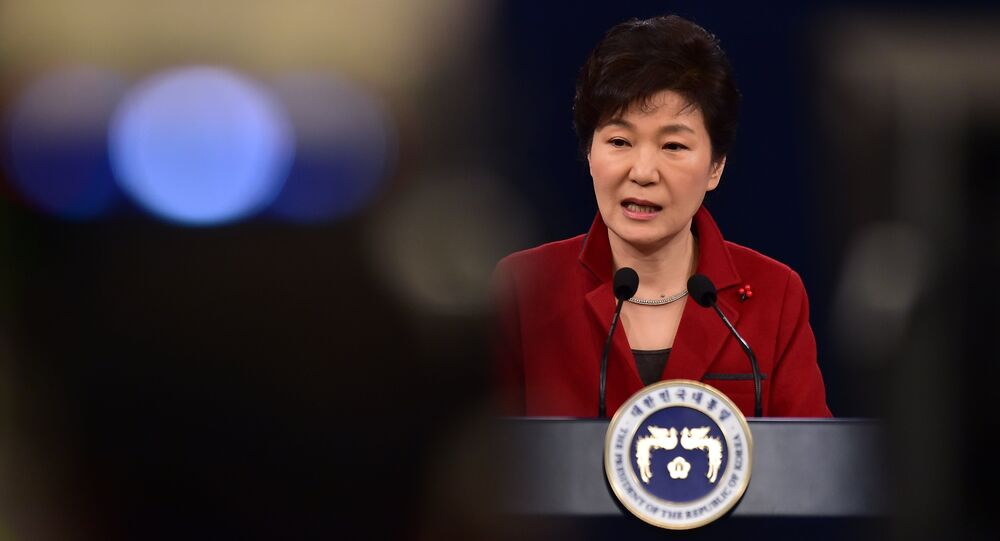 South Korean President Park Geun-Hye speaks during her New Year press conference at the presidential Blue House in Seoul on January 12, 2015