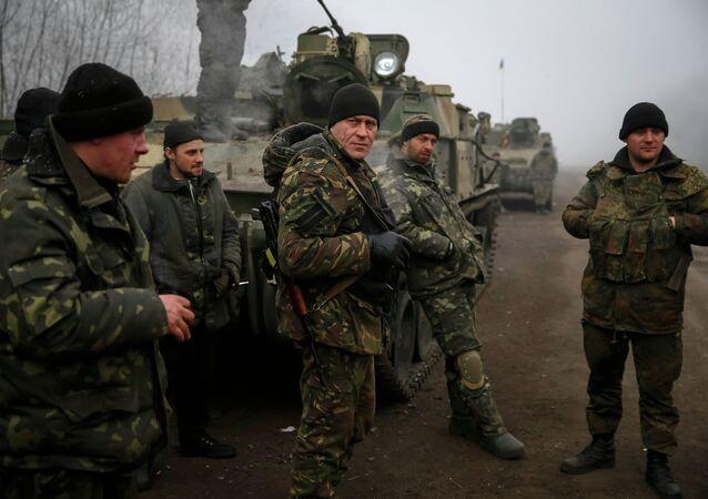 Members of the Ukrainian armed forces are seen not far from Debaltseve, eastern Ukraine February 15, 2015