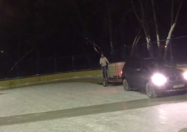 X5 Cleans Ice Rink With a Rug... Only in Russia!