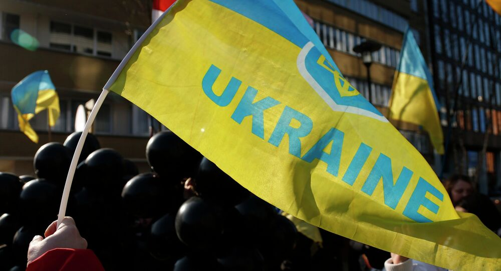 Demonstrator waves a Ukrainian flag