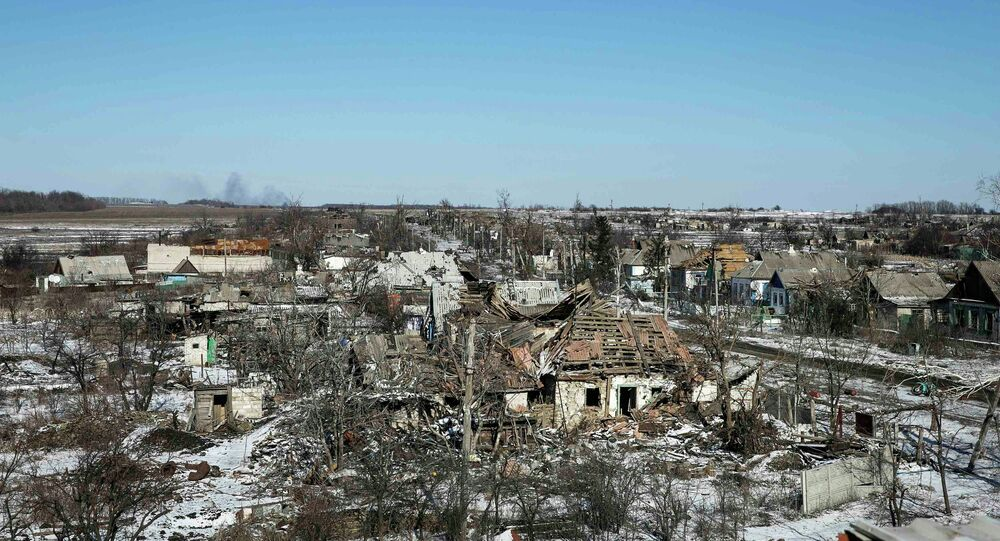 Buildings damaged by fighting are pictured in the village of Nikishine, south east of Debaltseve February 17, 2015