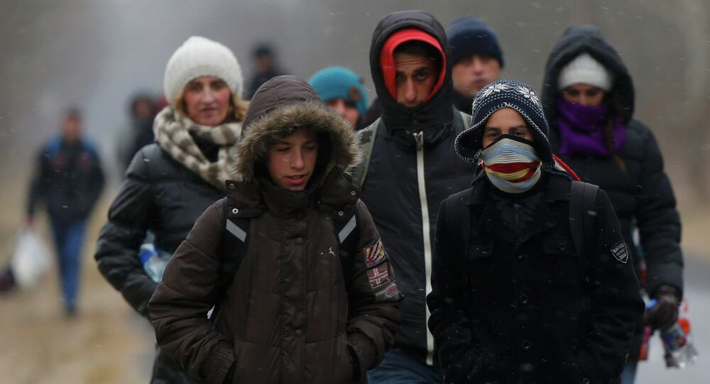 A group of Kosovars walk along a road after having illegally crossed the Hungarian-Serbian border near the village of Asotthalom February 6, 2015