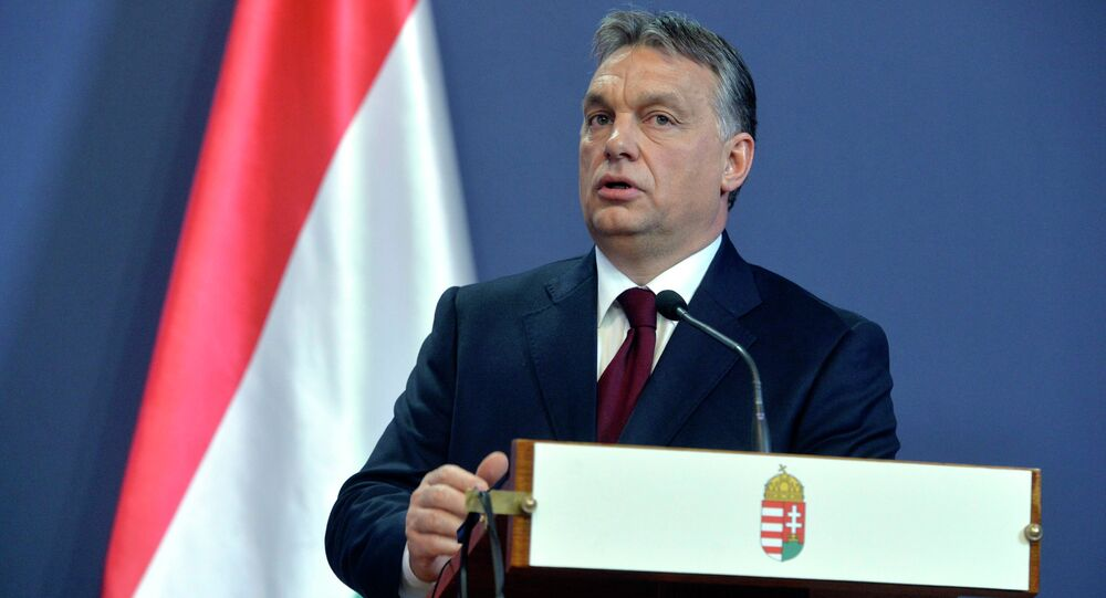 Hungarian Prime Minister Viktor Orban speaks during his joint press conference with Russian President Vladimir Putin in the Parliament building in Budapest, Hungary, Tuesday, Feb. 17, 2015. Putin is staying on a one-day working visit in the Hungarian capital.