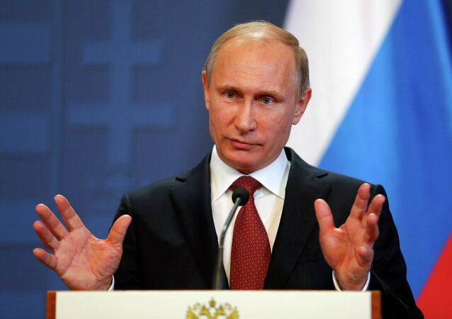 Russian President Vladimir Putin addresses during a joint news conference with Hungarian Prime Minister Viktor Orban in Budapest February 17, 2015. Putin will discuss Russian gas supplies to Hungary when he visits Budapest on Tuesday, an adviser to the Russian president said on Monday.