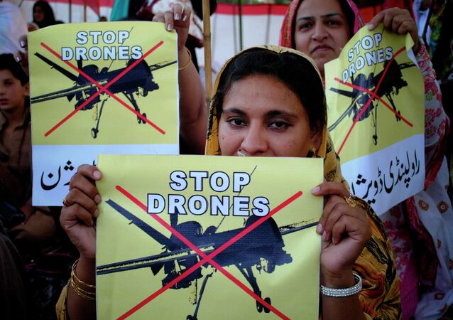 Pakistani women rally against the US drone strikes in tribal areas.