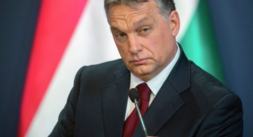 Hungarian Prime Minister Viktor Orban during press conference in the Parliament building in Budapest