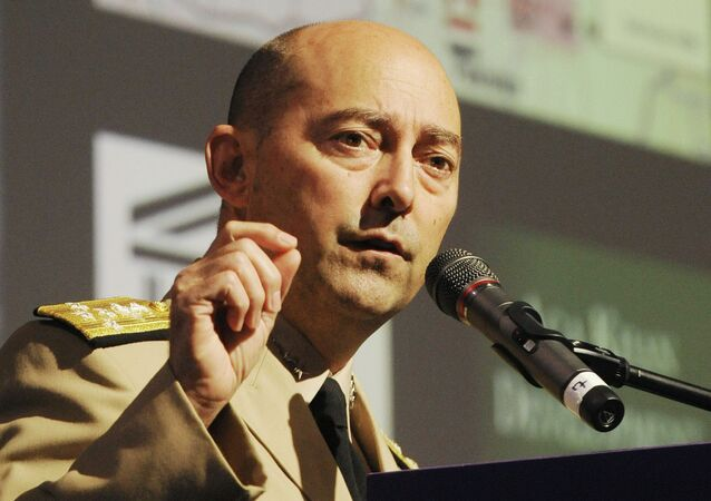 US Admiral James Stavridis, NATO Supreme Allied Commander Europe, speaks at the Global Forum conference in Wroclaw, Poland
