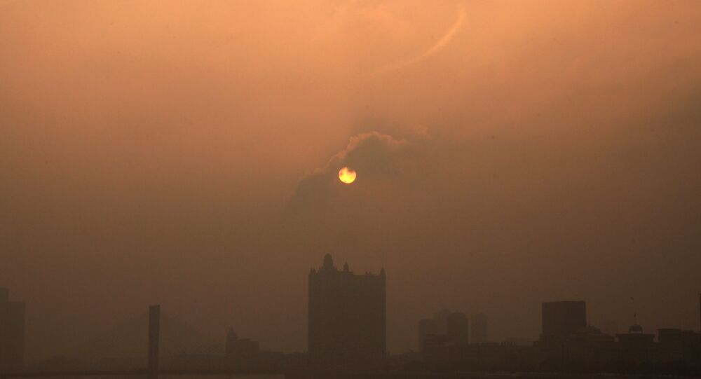 This picture taken on January 29, 2013 shows a general view of buildings in the heavy smog in Jilin, northeast China's Jilin province
