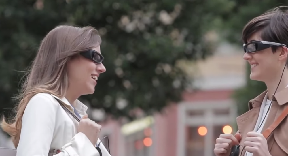 SmartEyeglass connects wirelessly to users' smartphones and uses holographic wavelength technology to project information before the wearers' eyes.