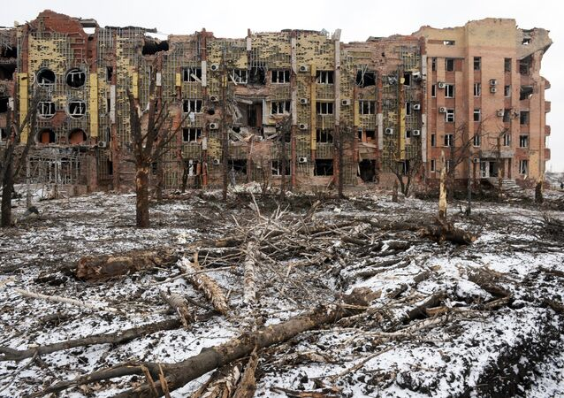 A building destroyed by shelling in the airport of Donetsk