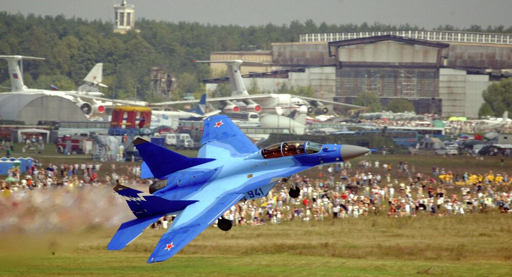 Russian MiG-29K takes off at the MAKS 2007 Air Show at Zhukovsky airfield outside Moscow