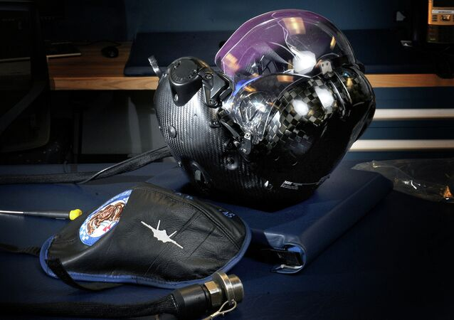Flight helmet developed for the Joint F-35 Lightning II fighter aircraft. Joint service operations held at Eglin Air Force Base, Florida.