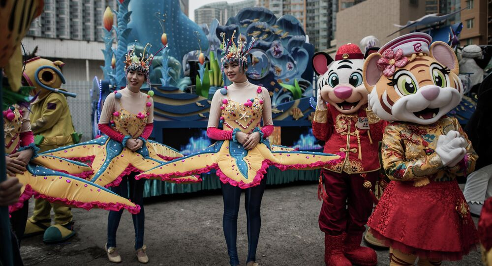Performers gather during preparations for Chinese lunar new year celebrations in Hong Kong