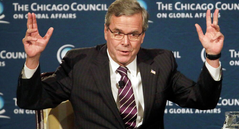 """""""For the life of me, I don't understand – the debate has gotten off track, where we're not understanding and protecting,"""" Jeb Bush said about criticism of the NSA at the Chicago Council for Global Affairs."""