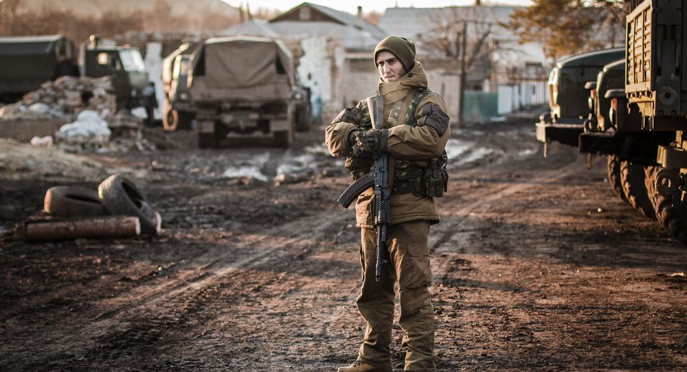 A DPR militiaman on the outskirts of Debaltseve, Donetsk Region