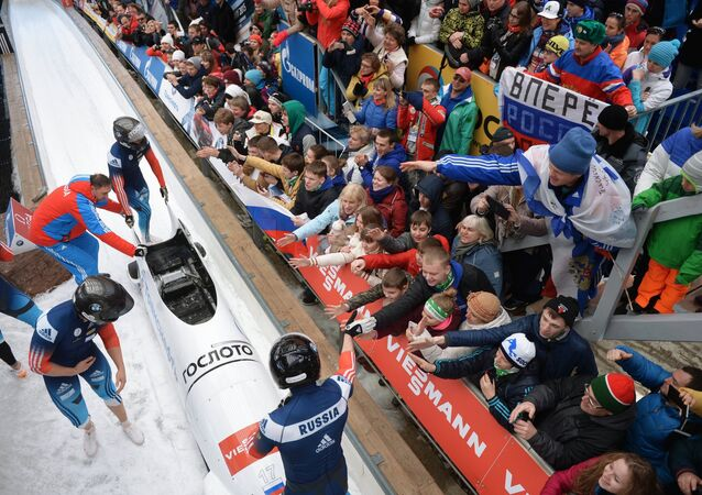 Nikita Zakharov, Maxim Mokrousov, Kirill Antyukh and Vasily Kondratenko (Russia) at the finish of a heat during the four man bob event at the Bobsleigh World Cup 8 in Sochi