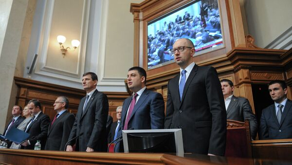 Ministers in the Government lodge during Ukraine's new parliament first session in Kiev. Right, foreground: Prime Minister Arseniy Yatsenyuk - Sputnik International