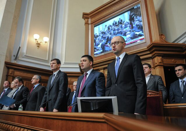 Ministers in the Government lodge during Ukraine's new parliament first session in Kiev. Right, foreground: Prime Minister Arseniy Yatsenyuk