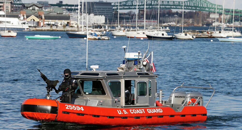 Armed US Coast Guard Boat Patrols Boston Harbor