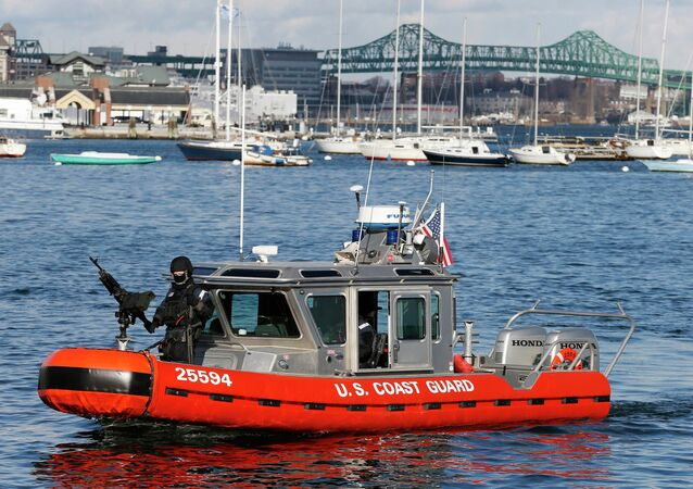 Armed US Coast Guard Boat Patrols Boston Harbor