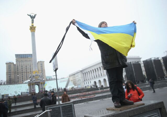 A participant marking the anniversary of the events on Kiev's Independence Square