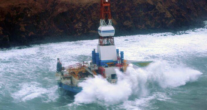 The Royal Dutch Shell drilling rig Kulluk aground off a small island near Kodiak Island Tuesday Jan. 1, 2013