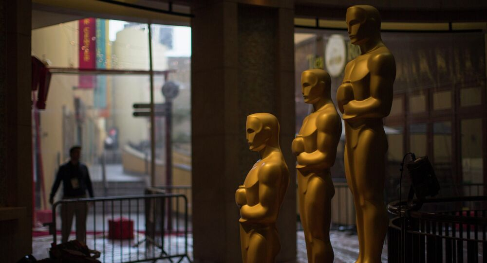 Oscar statues are pictured outside the Dolby Theater during preparations leading up to the 87th Academy Awards in Hollywood, California February 21, 2015. The Oscars will be presented at the Dolby Theater February 22, 2015.