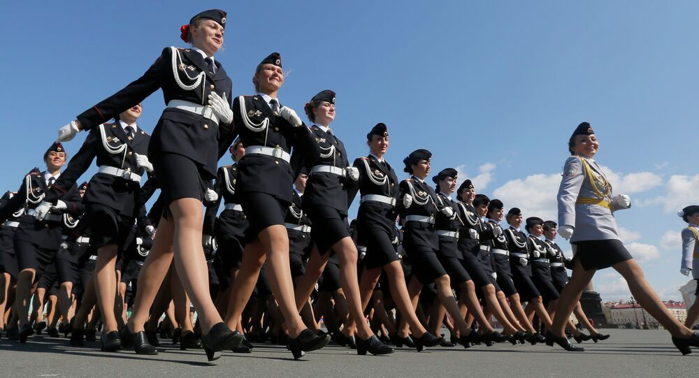 Russian Police academy female cadets march during a rehearsal for the Victory Day military parade at Dvortsovaya (Palace) Square in St Petersburg