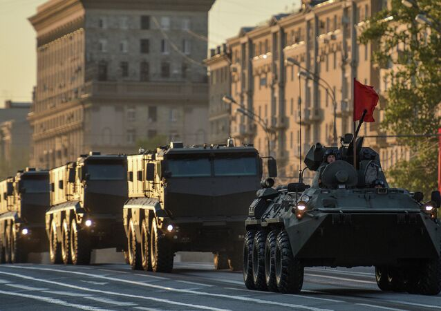 Military equipment takes part in Victory Day Parade rehearsal