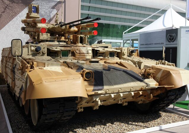 Tank Support Fighting Vehicle (BMPT) Terminator developed at Uralvagonzavod machine building company is demonstrated at the IDEX 2013 International Defence Exhibition in Abu Dhabi, United Arab Emirates