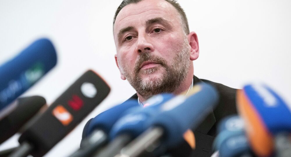 Organizer Lutz Bachmann, speaks during a news conference of the group 'Patriotic Europeans against the Islamization of the West' (PEGIDA) in Dresden