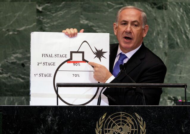 In Sept. 2012, Prime Minister Benjamin Netanyahu of Israel shows an illustration as he describes his concerns over Iran's nuclear ambitions during his address to the 67th session of the United Nations General Assembly at U.N. headquarters.