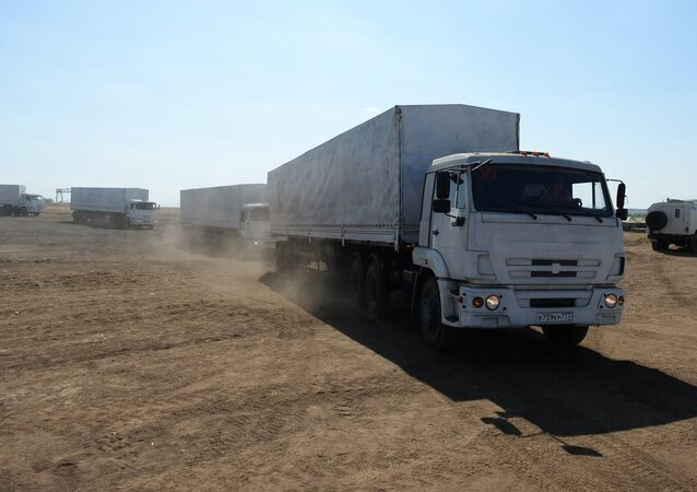 Convoy trucks on the way back to Russia after delivering humanitarian aid to Lugansk