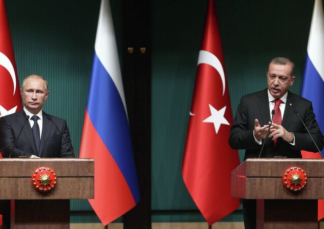 Turkish President Recep Tayyip Erdogan (R) and Russian President Vladimir Putin (L) hold a joint press conference at Turkey's Presidential Palace in Ankara