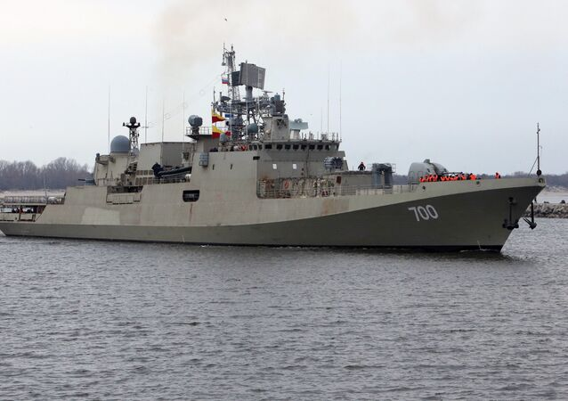 INS Trikand, built at the Yantar Shipyard in Kaliningrad for the Indian Navy, is tested in the Baltic Sea