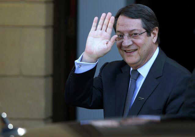 Cyprus President Nicos Anastasiades waves