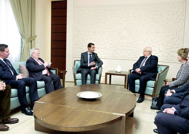 Syria's President Bashar al-Assad meets with a French delegation.
