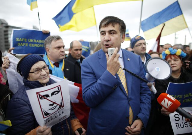 Former Georgian President Mikhail Saakashvili has come to Washington to persuade national legislators and government officials that they should arm the Ukrainian government.