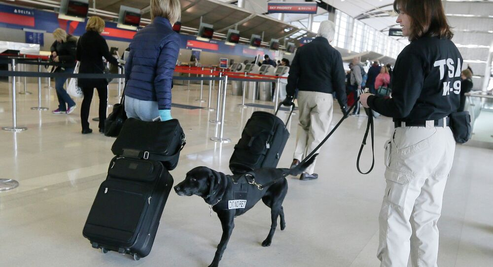 A Transportation Security Administration inspector and dog check out passengers at the Detroit Metropolitan Airport.