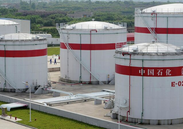 Oil tanks are seen at a Sinopec plant in Hefei