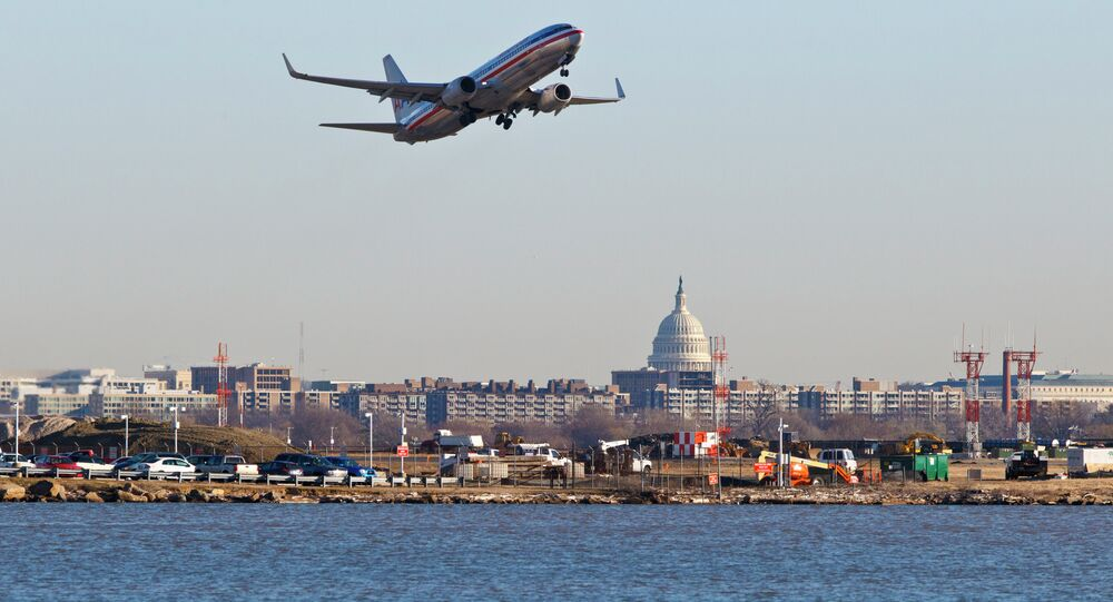 An American Airlines jet takes off from Reagan National Airport in Washington