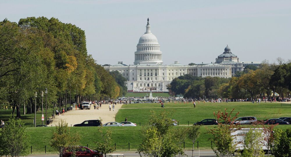 The United States Capitol, the meeting place of the U.S.Congress in Washington, D.C. The Capitol's foundation stone was laid by George Washington on September 18, 1793