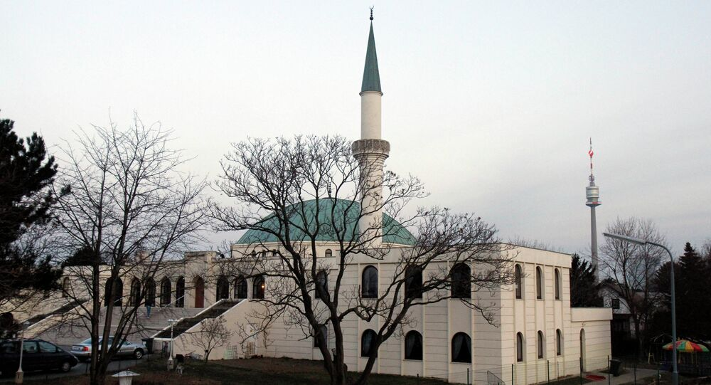 The minaret and the mosque of the Islamic center Vienna pictured in Vienna, Austria