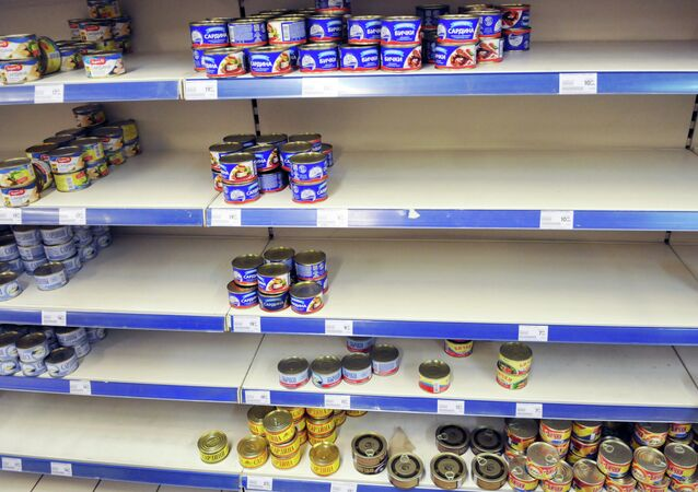 Shelves at a grocery store in Lviv.