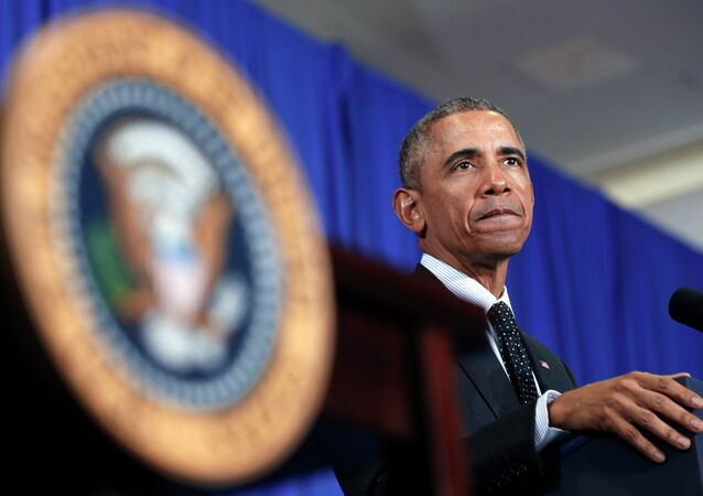 US President Barack Obama speaks during an event in the Pullman neighborhood of Chicago